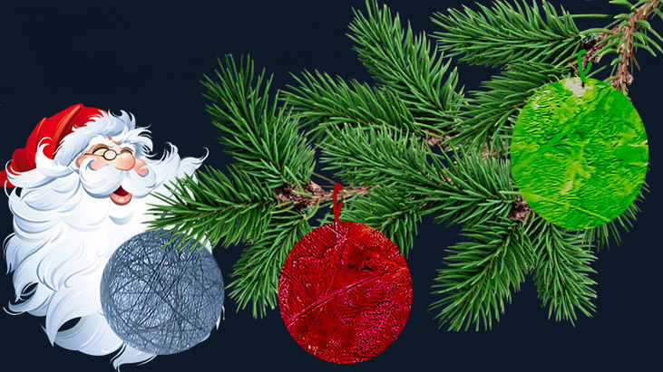 Новогодние украшения своими руками, 2 оригинальных способа  изготовления шаров