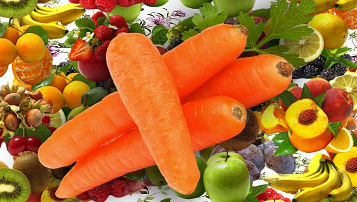 фрукты и овощи на салат