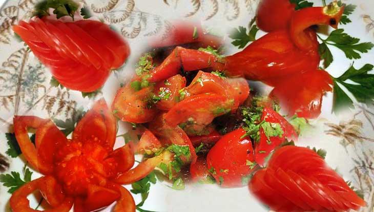 Правила нарезки помидоров для сервировки стола