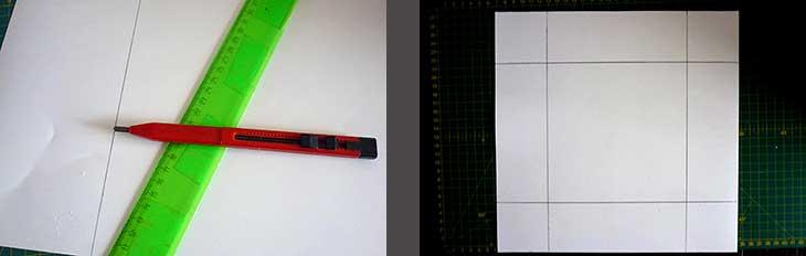 начертила и вырезала квадрат